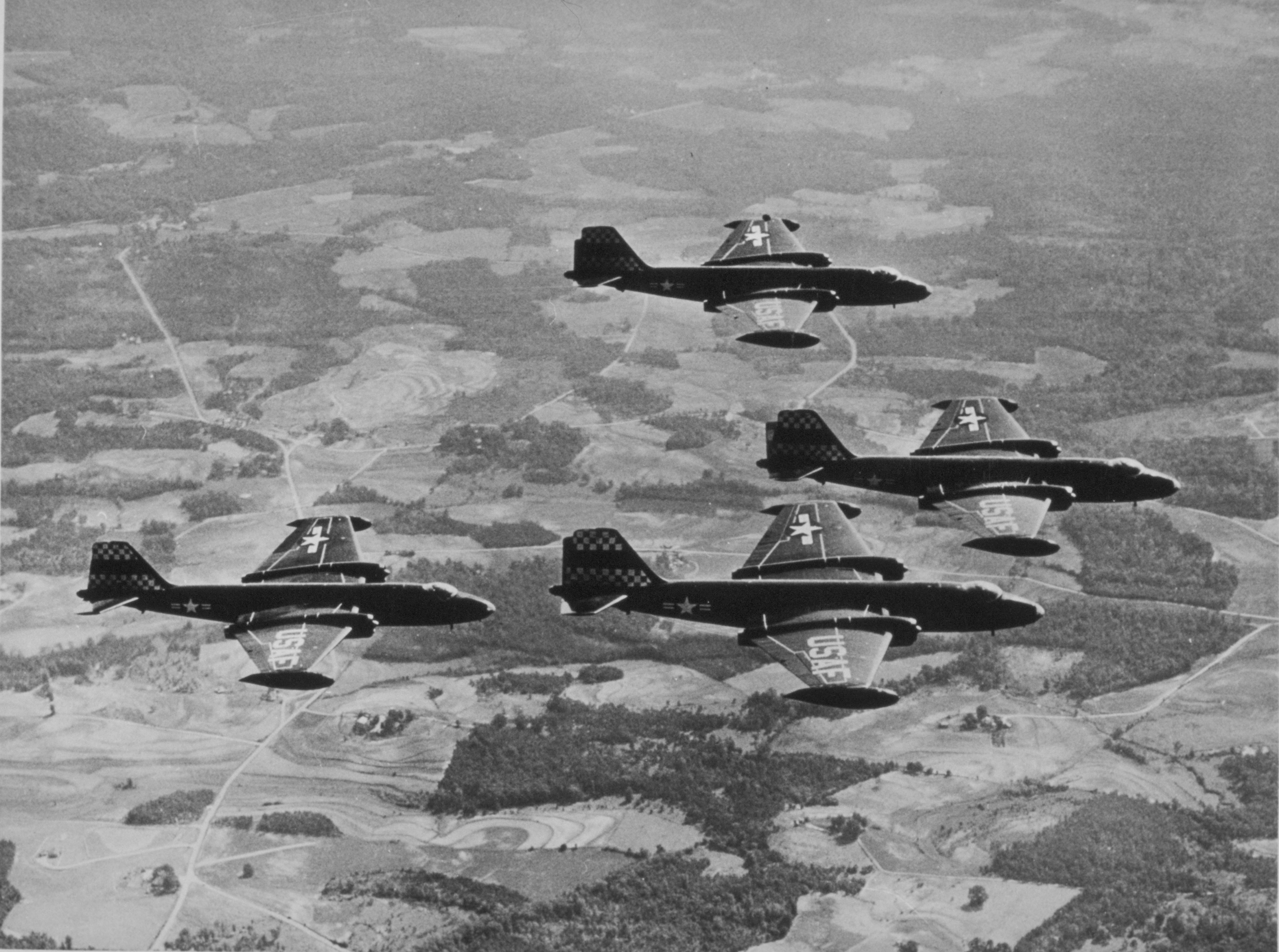 A formation flight of four RB-57A Canberras from Shaw Air Force Base in California. Sixty-eight of the 75 B-57As were built in the RB-57A tactical reconnaissance configuration, with the remainder delivered as B-57A bombers.