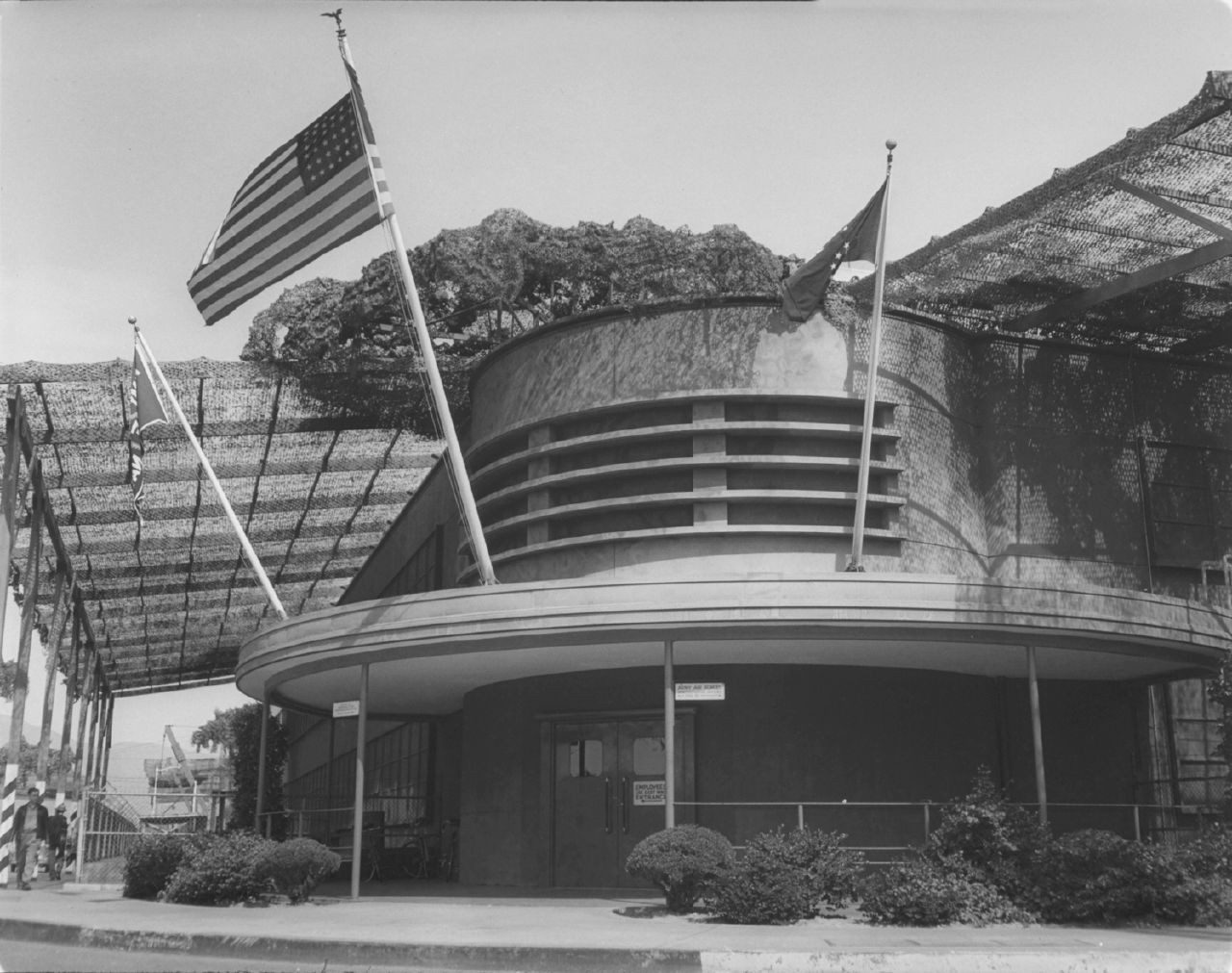 The exterior of Building 61, Plant A-1, at the Union Air Terminal in Burbank, California during WWII.
