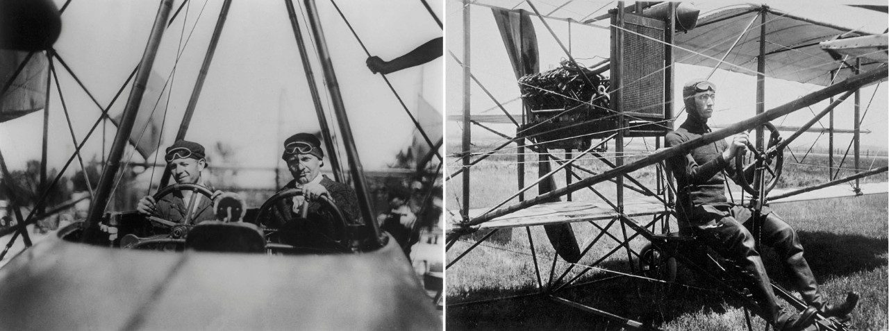 At left, Malcolm Loughead (left) and Allan Lockheed (right) in F-1 flying boat. At right, Glenn L. Martin at his Santa Ana flying field in June 1911 at the controls of a pusher powered by a Hall-Scott engine.