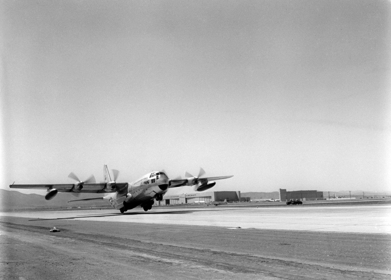 Maiden flight of the YC-130 Hercules prototype at the Lockheed Air Terminal on August 23, 1954.