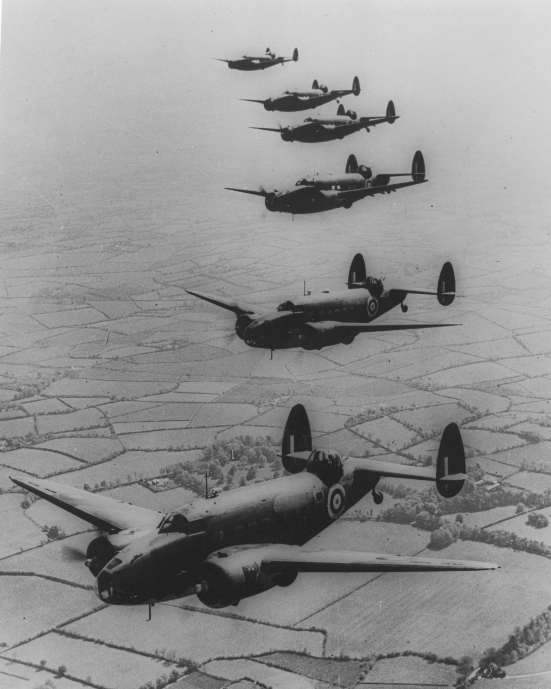 1940  - Formation flight of six Hudson's over England.
