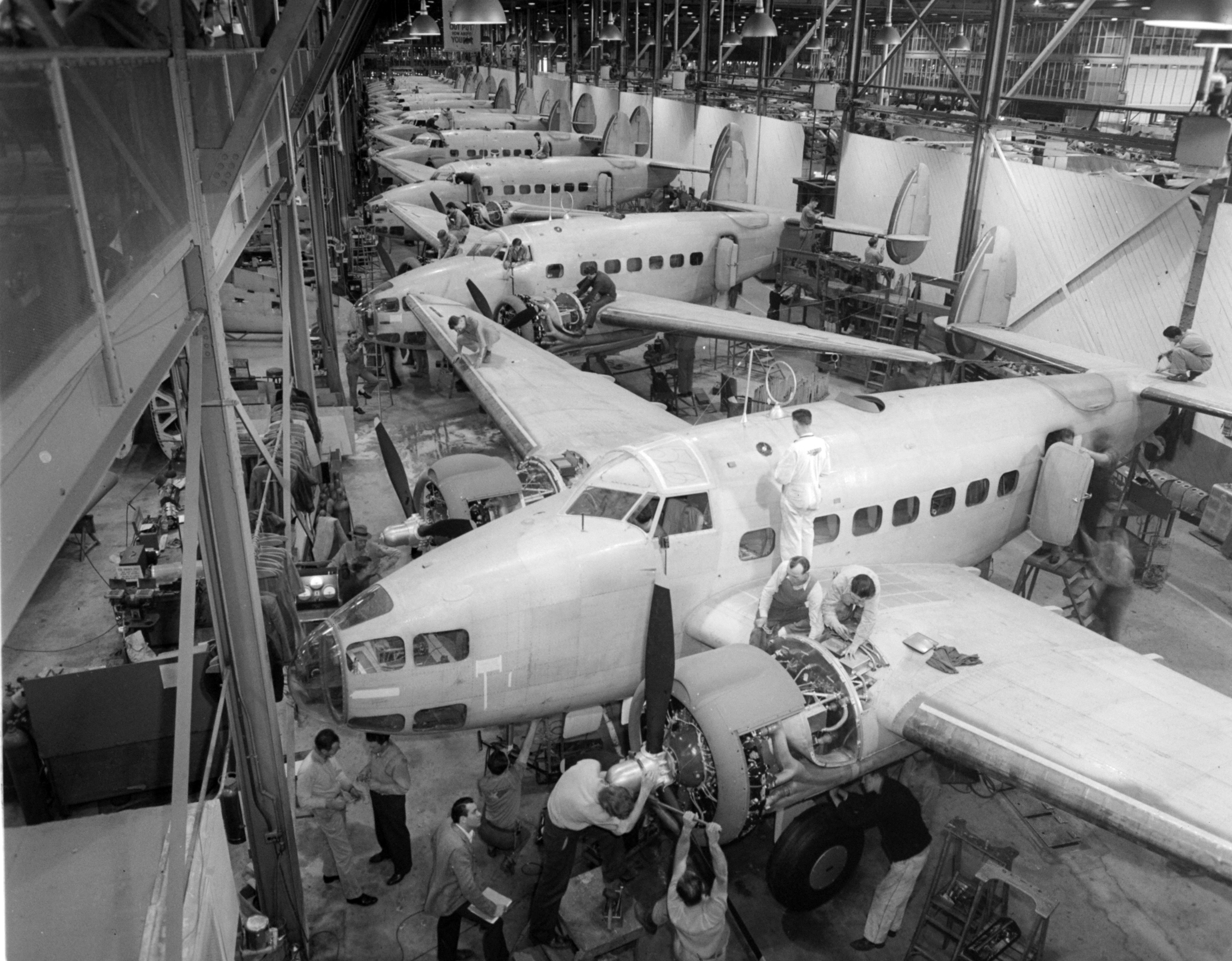 This assembly line is producing the Hudson Bombers used in World War II.