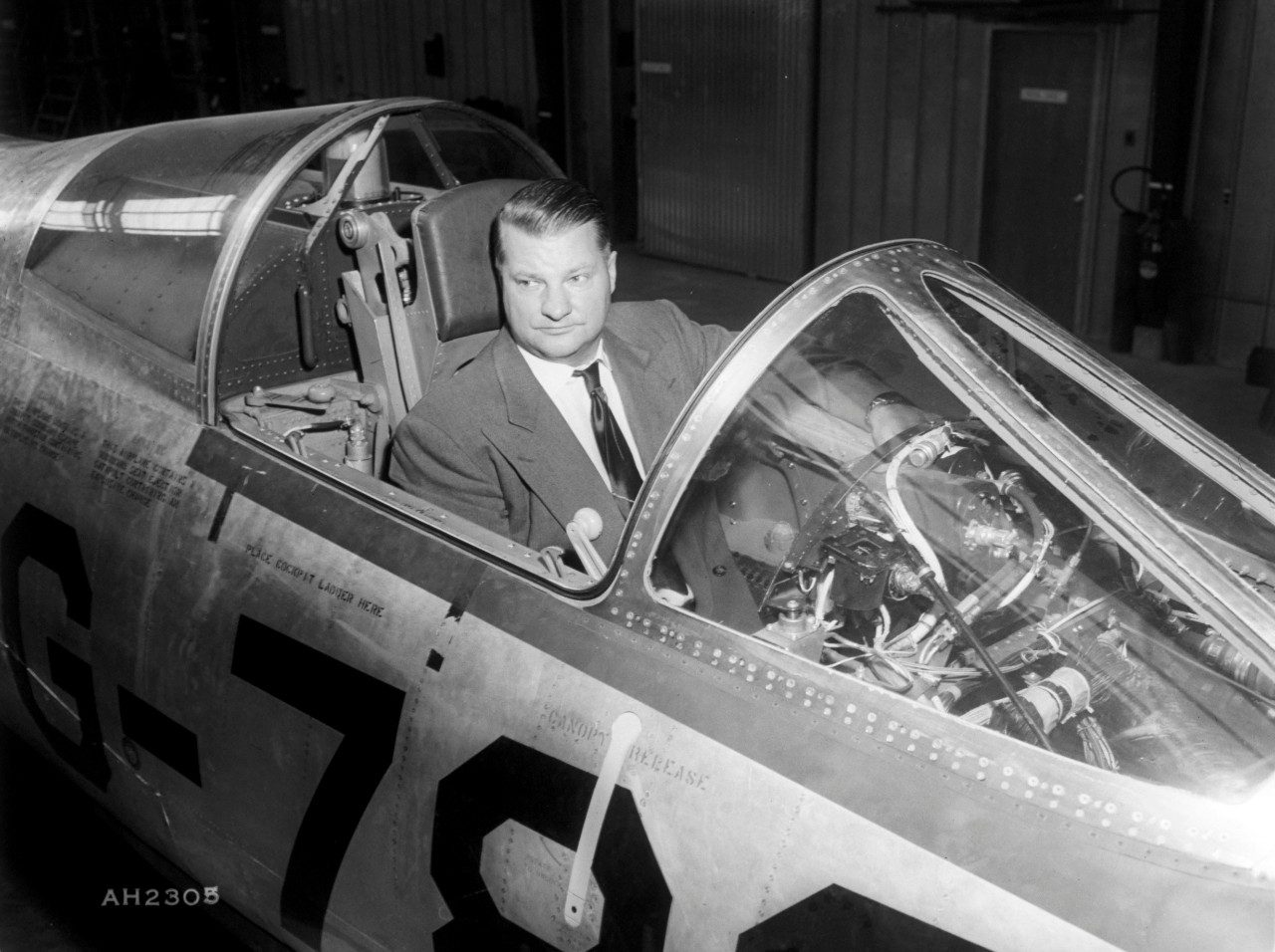 Kelly Johnson in the cockpit of an F-104