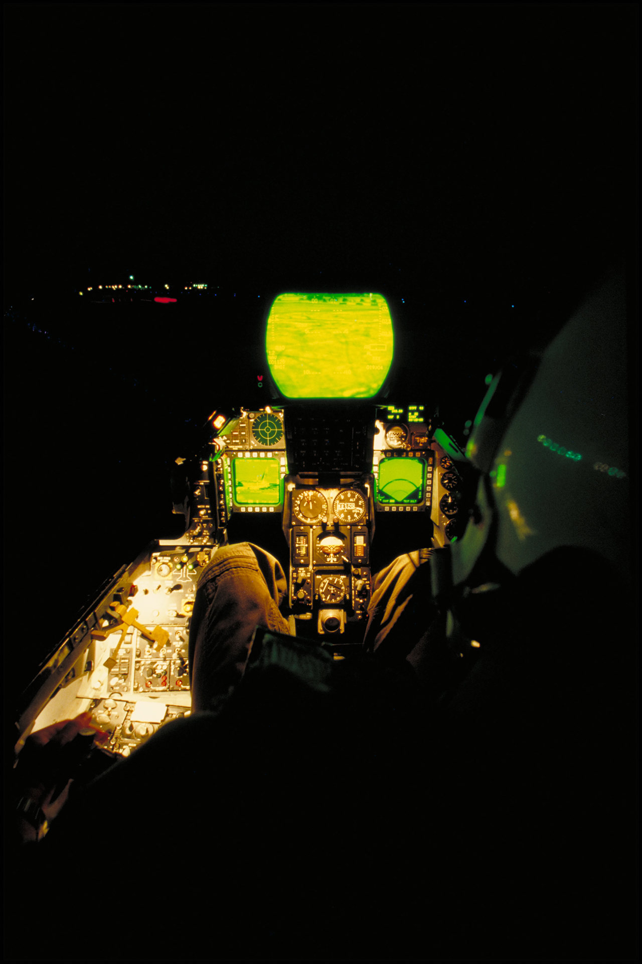F-16 pilot's view of the LANTIRN screens, flying at night, circa 1985.