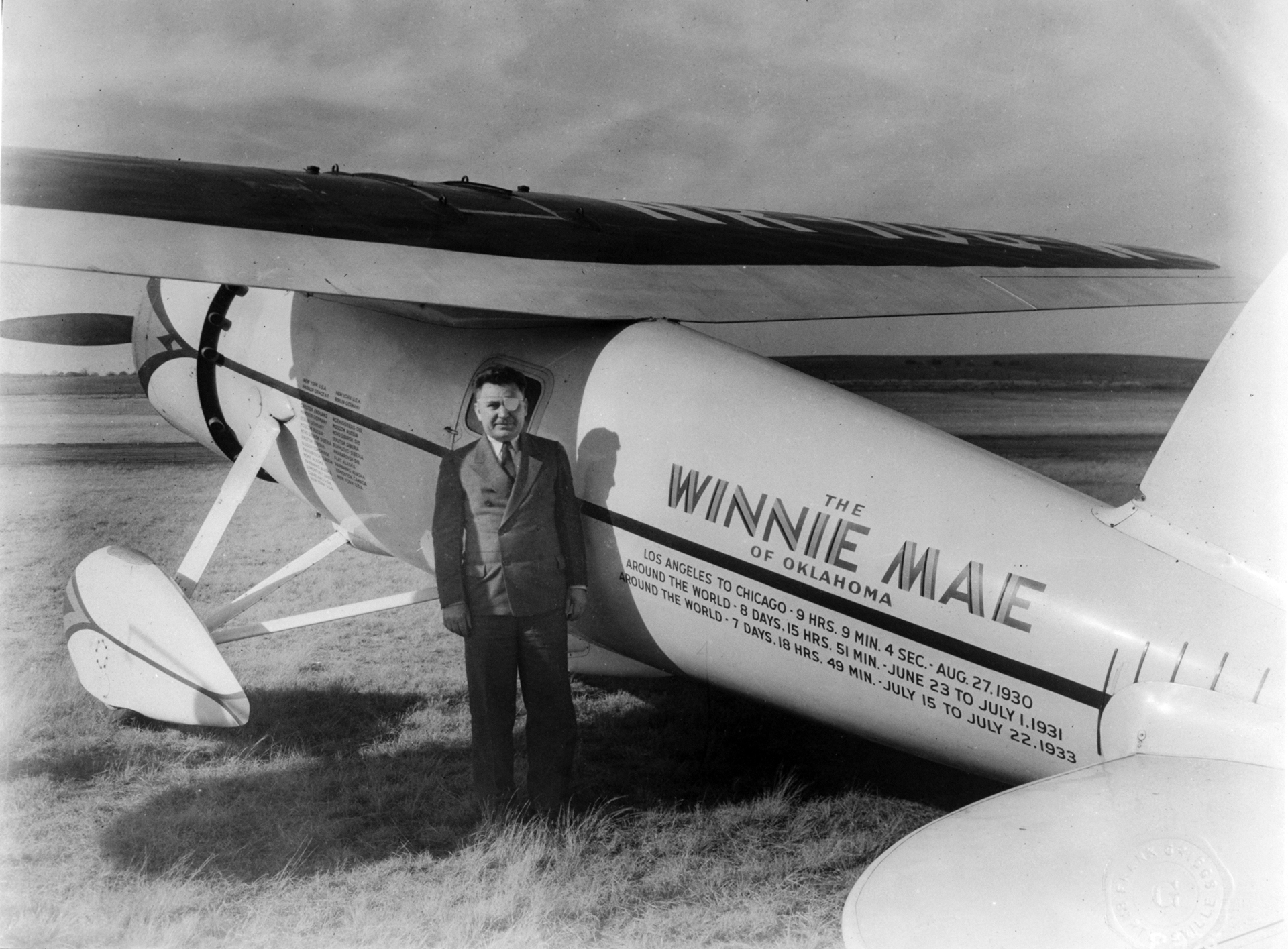 Wiley Post, famous aviator, set around-the-world records in a Vega called the Winnie Mae. (Records: LA to Chicago - 9 hours, 9 minutes, 4 seconds, August 27, 1930; Around the world - 8 days, 15 hours, 51 minutes, June 23 to July 1, 1931; Around the world - 7 days, 18 minutes.)