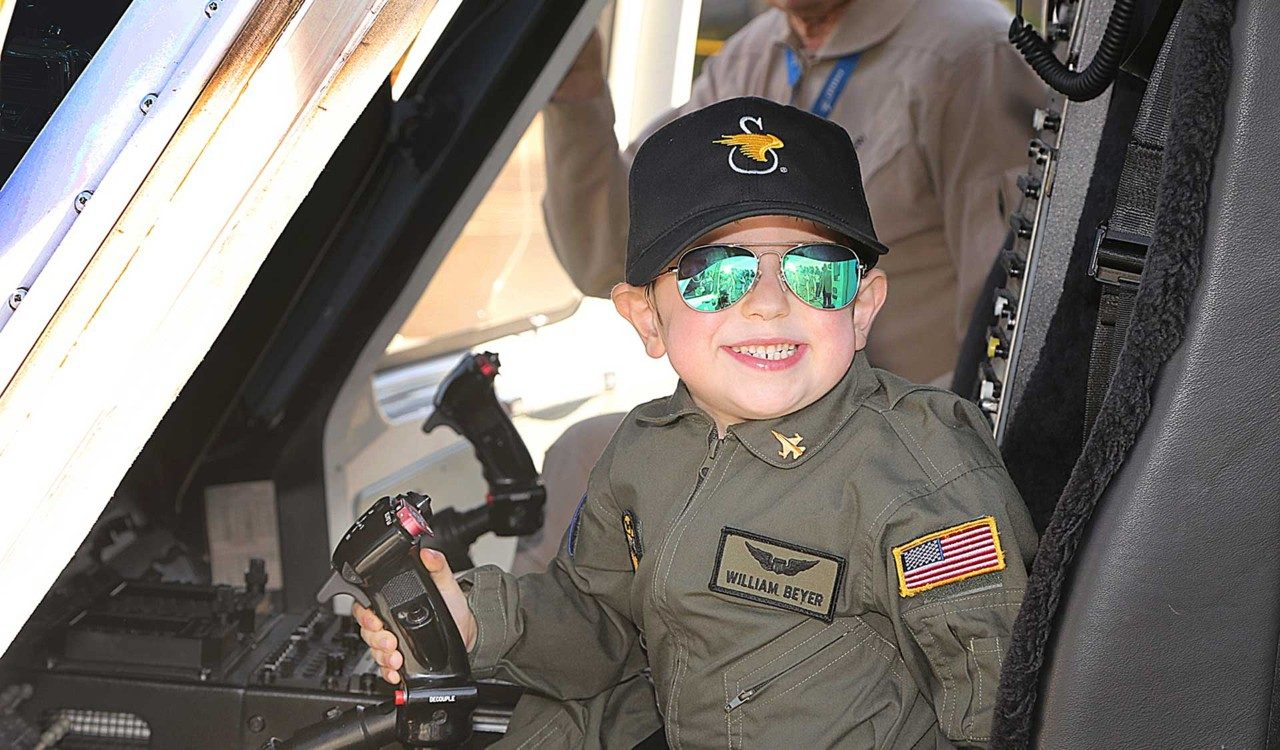 "Six-year-old William Beyer became a ""Pilot for a Day"" thanks to the Make-A-Wish® foundation"
